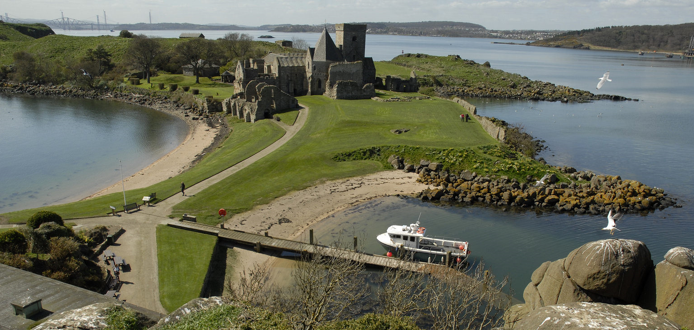 Inchcolm Abbey, looking west across the island.